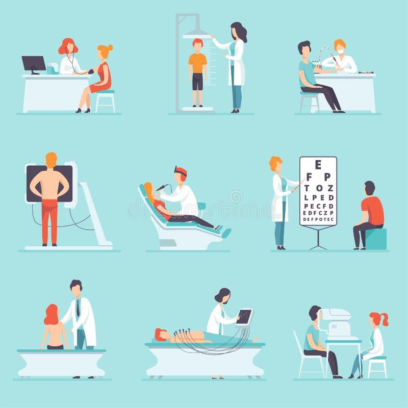 Vlakke vectorreeks mensen bij het algemeen medische onderzoek Artsen en patiënten Beroeps op het werk Gezondheidszorg en behandel stock illustratie