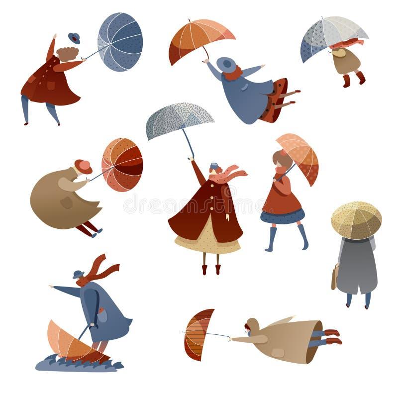 Vlakke vectorreeks mensen met paraplu's Winderige Dag Slecht weer Mannen, vrouwen en jonge geitjes in regenjassen Het seizoen van stock illustratie