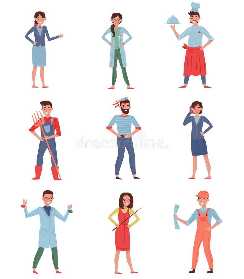 Vlakke vectorreeks mensen verschillende beroepen Stewardess, arts, chef-kok, landbouwer, zeeman, bedrijfsvrouw, chemicus royalty-vrije illustratie