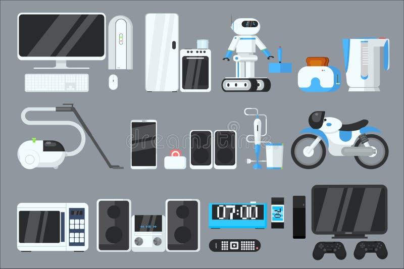 Vlakke vectorreeks moderne apparaten en toestellen Computer, ijskast, oven, microgolf, robot, broodrooster, vacuüm stock illustratie