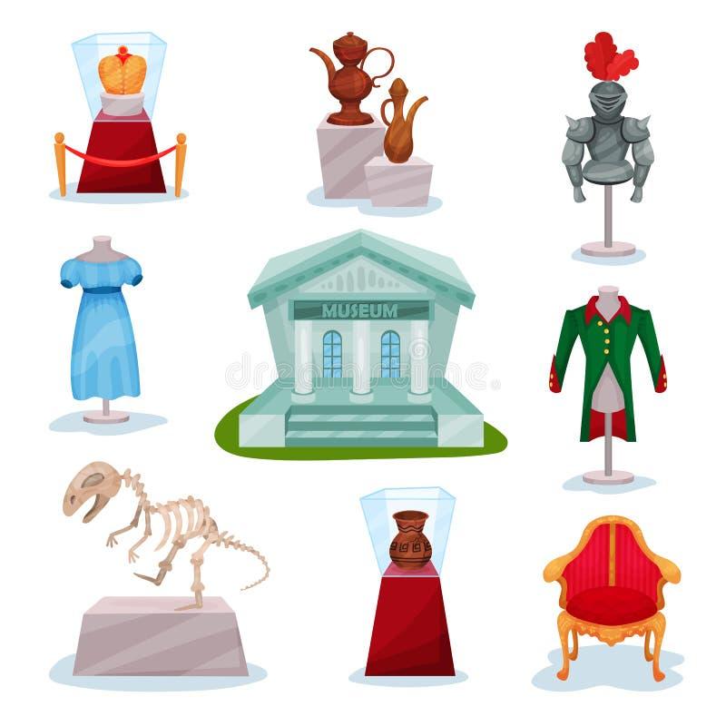 Vlakke vectorreeks museumtentoongestelde voorwerpen Gouden kroon, middeleeuws ridderspantser, oude kruiken, dinosaurusskelet, kle royalty-vrije illustratie