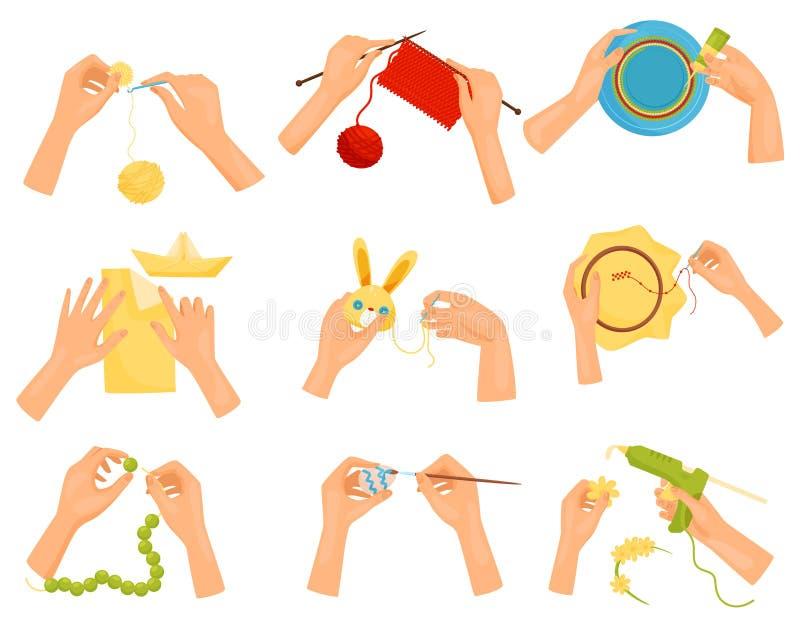 Vlakke vectorreeks pictogrammen die verschillende hobbys tonen Handen die met de hand gemaakte ambachten doen Het breien, het ver royalty-vrije illustratie