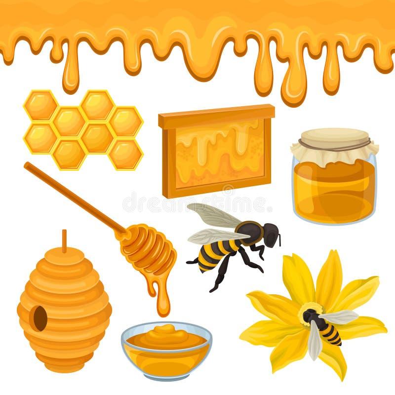 Vlakke vectorreeks pictogrammen met betrekking tot het thema van de honingsproductie Bij op bloem, honingraat, bijenkorf, houten  vector illustratie