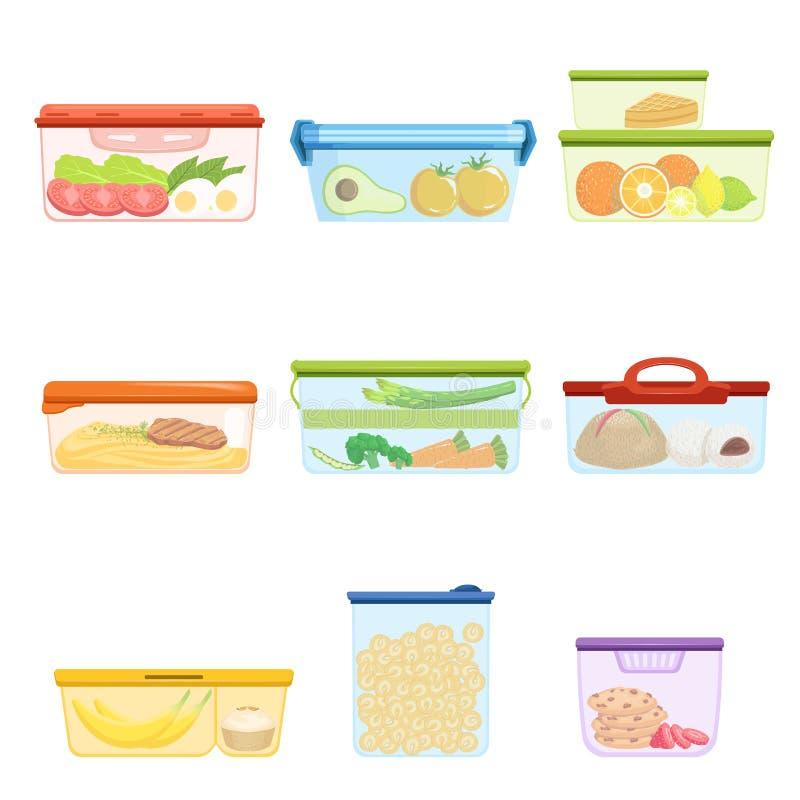 Vlakke vectorreeks plastic containers met voedselgroenten, vruchten, snoepjes, macaroni Dessert voor lunch Fijngestampte Aardappe stock illustratie