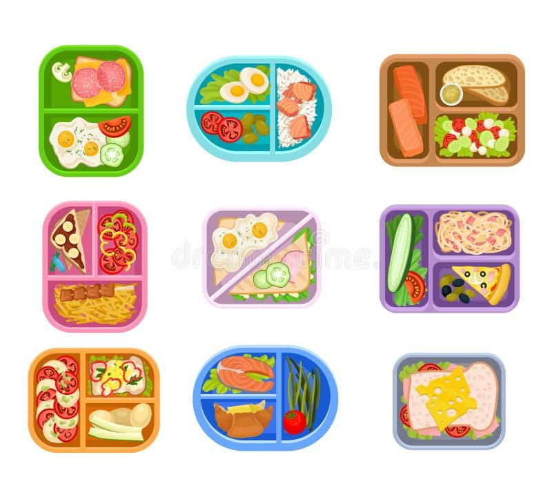 Vlakke vectorreeks plastic dienbladen van lunchdozen met heerlijke maaltijd Smakelijk voedsel Zalmvissen, verse groenten, eieren stock illustratie