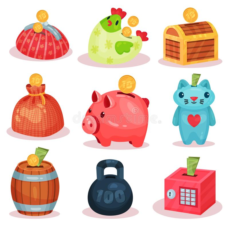 Vlakke vectorreeks spaarpotten in verschillende vormen Kleine containers voor besparingsmuntstukken en bankbiljetten Financieel t vector illustratie