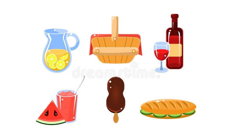 Vlakke vectorreeks traditionele Franse picknickvoedsel en dranken Limonade, wijn, roomijs en watermeloendessert, sandwich vector illustratie