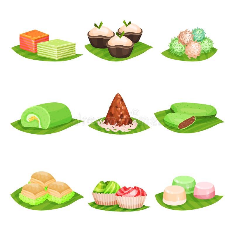 Vlakke vectorreeks traditionele Indonesische snoepjes Heerlijke desserts Oosters voedsel Ontwerp voor menu, affiche of recept vector illustratie