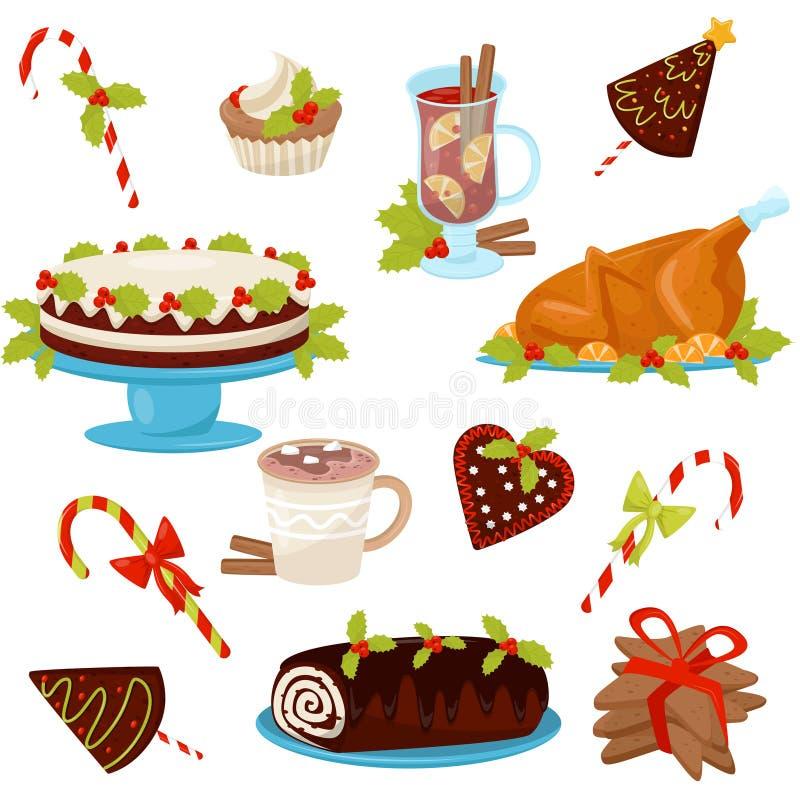 Vlakke vectorreeks traditionele Kerstmisvoedsel en dranken Smakelijke kip voor vakantiediner Heerlijke desserts en heet stock illustratie