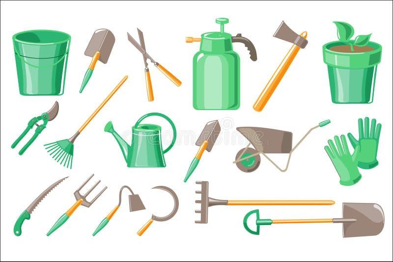 Vlakke vectorreeks tuintoebehoren Pot met installatie, beschermende handschoenen, het graven en het snoeien hulpmiddelen, materia stock illustratie