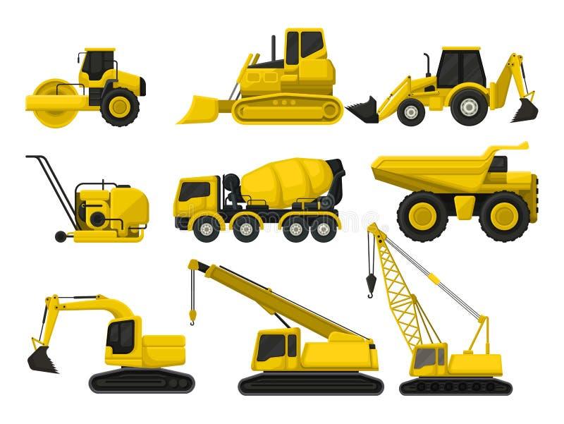 Vlakke vectorreeks van bouwmateriaal Speciale machines om te bouwen Wegwals, bulldozer, concrete het mengen zich vrachtwagen vector illustratie