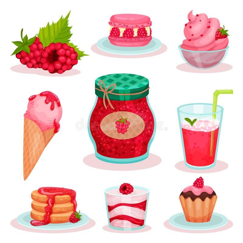 Vlakke vectorreeks van frambozenvoedsel en drank Roomijs, kruik jam, verse cocktail en smakelijke desserts Elementen voor menu vector illustratie