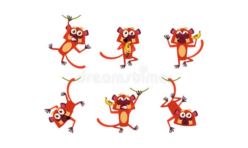 Vlakke vectorreeks van grappige bruine maki in verschillende acties Wilde aap met diverse emoties vector illustratie