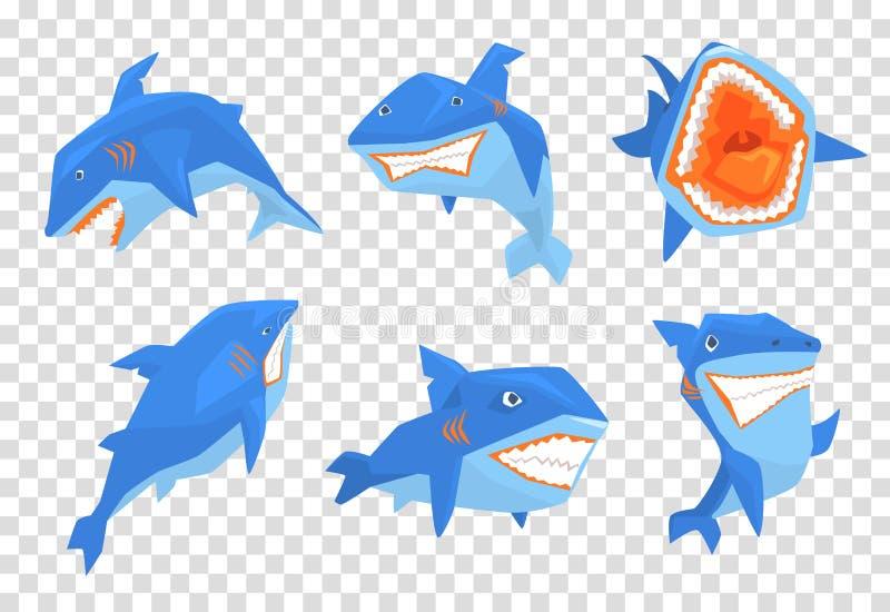 Vlakke vectorreeks van grote blauwe haai Mariene vissen met scherpe tanden en grote vin op rug Elementen voor stickers of mobiel royalty-vrije illustratie