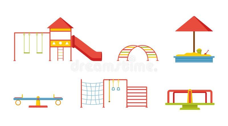 Vlakke vectorreeks van materiaal voor kinderenspeelplaats Schommeling, dia, zandbak, ladders, geschommel, carrousel vector illustratie