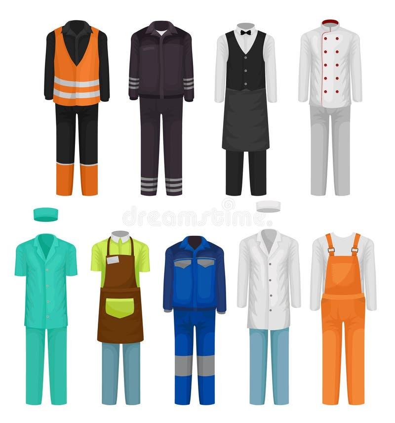 Vlakke vectorreeks van personeelskleding Eenvormig van roadman, wacht, het ziekenhuis en restaurantarbeiders Workwearthema stock illustratie