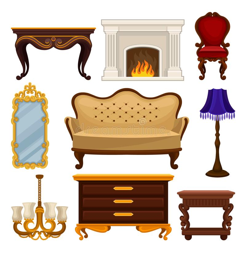 Vlakke vectorreeks van uitstekend meubilair Antieke bank en stoel, klassieke open haard, lijst en houten nightstand, muur vector illustratie