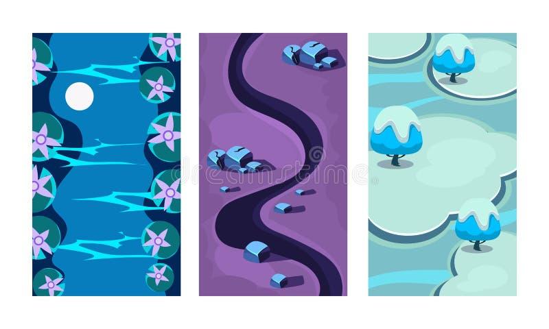 Vlakke vectorreeks van 3 verticale achtergronden voor online mobiel spel Beeldverhaalscènes met blauwe rivier, donker weg en ijs stock illustratie