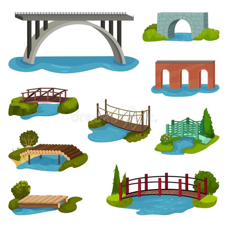 Vlakke vectorreeks verschillende bruggen Houten, metaal, baksteen en steenvoetgangersbruggen Bouw voor stad, binnenplaats en stock illustratie