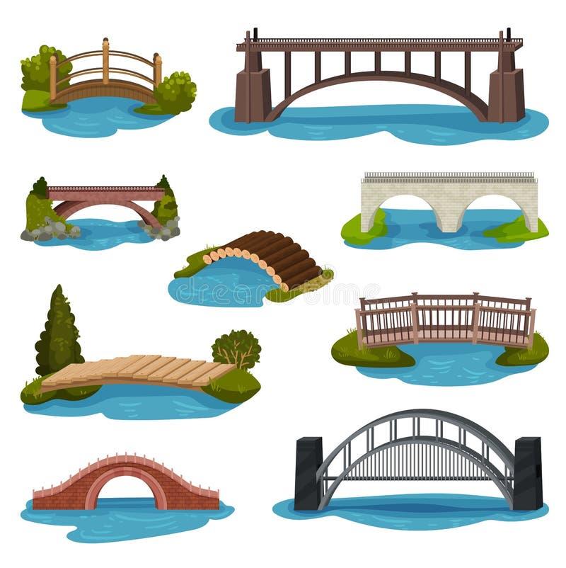 Vlakke vectorreeks verschillende bruggen Houten, metaal en baksteenvoetgangersbruggen Bouw voor vervoer vector illustratie