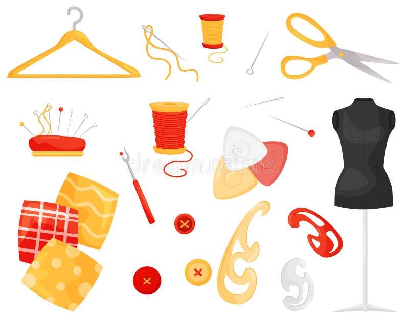 Vlakke vectorreeks verschillende naaiende punten Kleermakerij en handwerktoebehoren Makende uitrusting en materialen vector illustratie