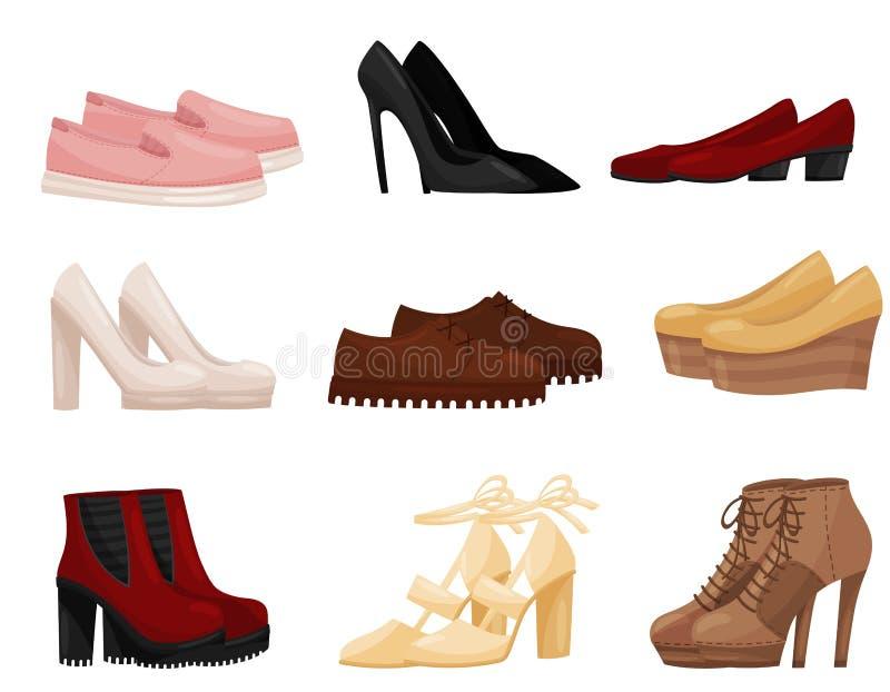 Vlakke vectorreeks verschillende vrouwelijke schoenen, zijaanzicht In vrouwenschoeisel Manierthema vector illustratie