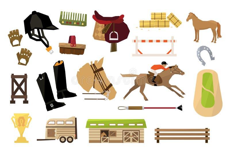 Vlakke vectorreeks voorwerpen van de equestrianismsport Mens, paard, houten schuur en omheining, ruiters materiaal, trofee, stape stock illustratie