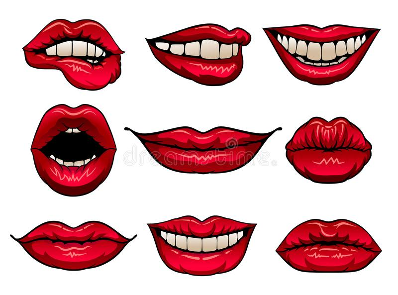 Vlakke vectorreeks vrouwelijke lippen met heldere rode lippenstift Pictogrammen van vrouwens monden Ontwerp voor druk, mobiele ap vector illustratie
