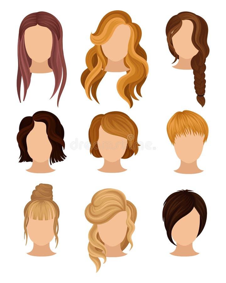 Vlakke vectorreeks vrouwens hoofden met diverse in kapsels Lange en korte kapsels Elementen voor affiche van vector illustratie