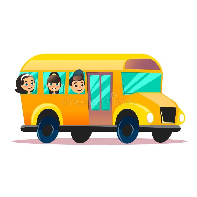 Vlakke vectorschoolbus Schooljonge geitjes die een schoolbus berijden Terug naar school vector vlak concept De gelukkige schoolki royalty-vrije illustratie