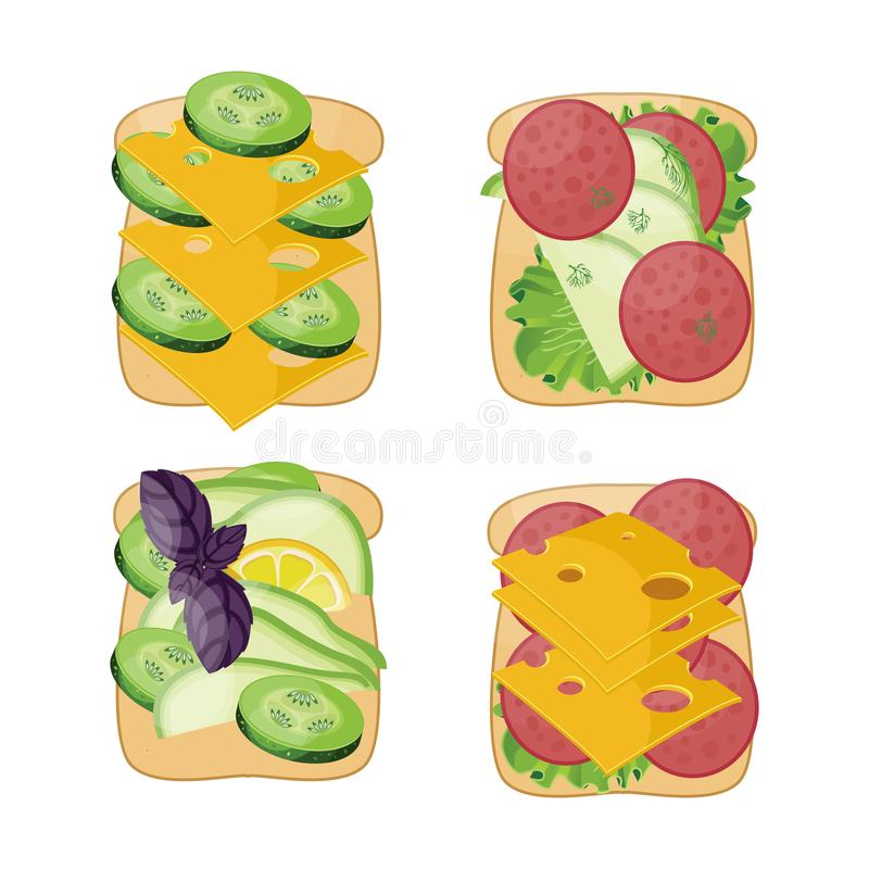 Vlakke vectorset sandwiches met verschillende ingrediënten stock foto
