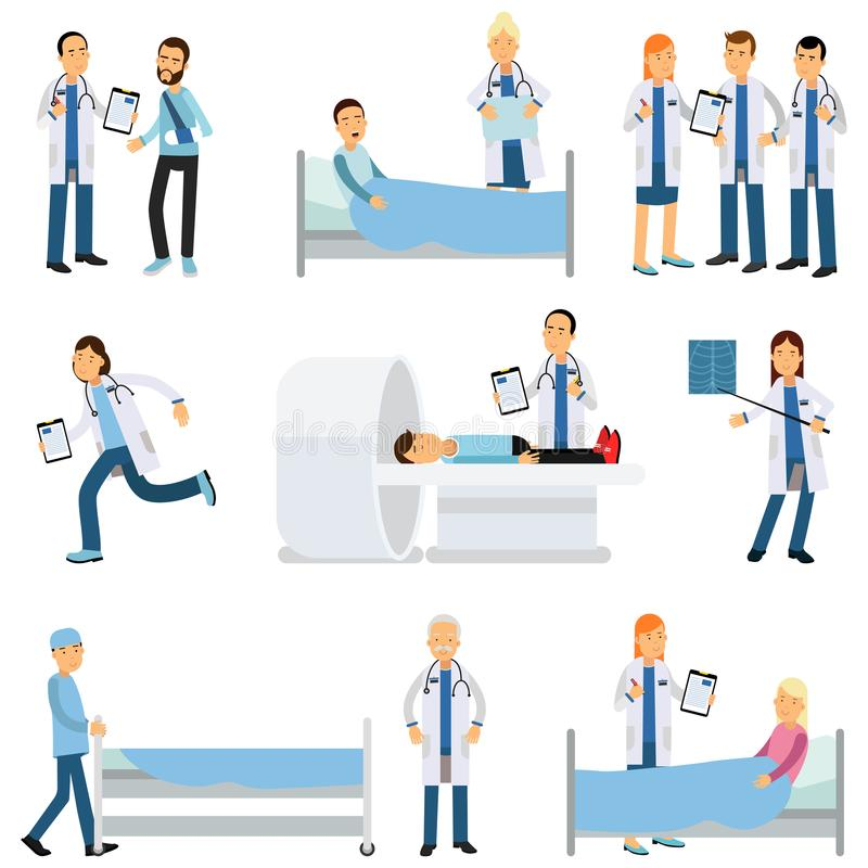 Vlakke vectorset van tekens medische arbeiders en zieken in verschillende situaties royalty-vrije illustratie