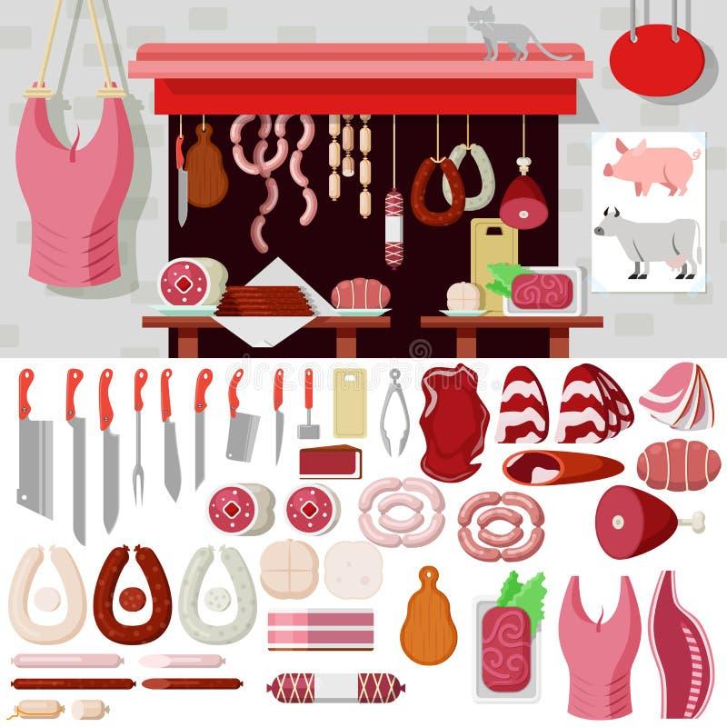 Vlakke vectorslagerij, vleeswaren, slachterijmes, winkelhaak stock foto's