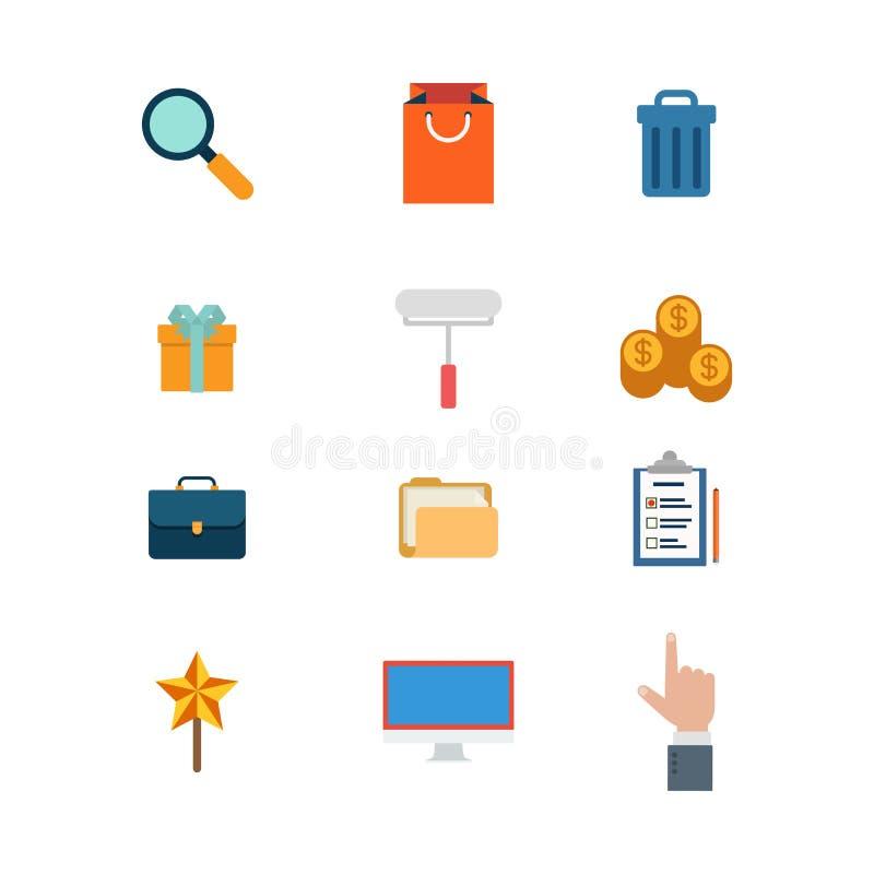 Vlakke vectorwebsitepictogrammen: zoek voegt het winkelen het afval van de zakkar toe stock illustratie