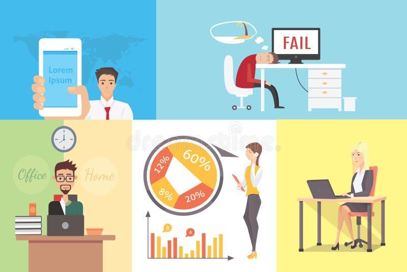 Vlakke Verscheidenheid van bedrijfsmensen bij het werk reeks van de plaats de vectorillustratie Team, werkgever, zakenman, ondern vector illustratie