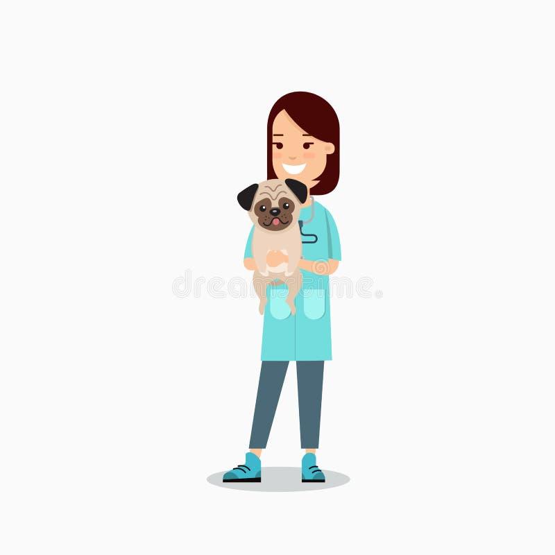 Vlakke veterinaire vrouwelijke arts het geven huisdierenpug hond royalty-vrije illustratie