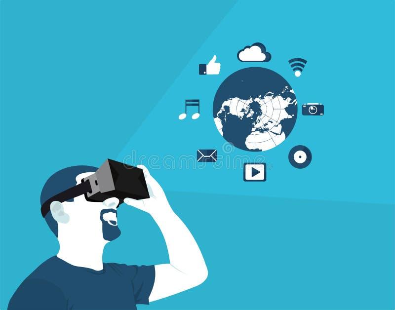 Vlakke virtuele werkelijkheid vector illustratie