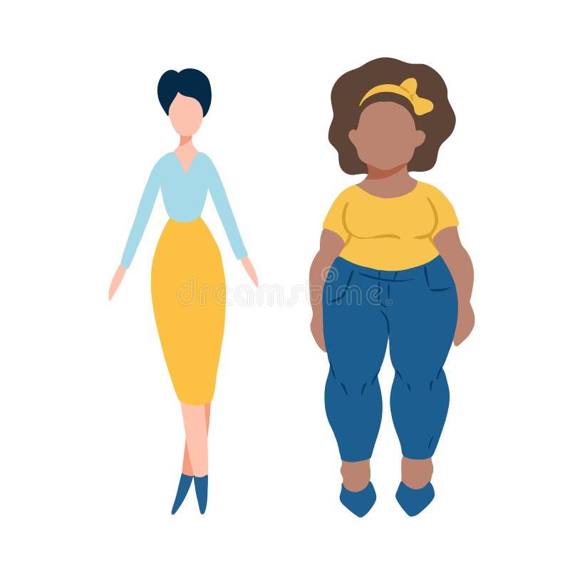 Vlakke vrouwenkarakters - vet en lang met lichte en donkere huid Verschillende vrouwelijke personages stock illustratie