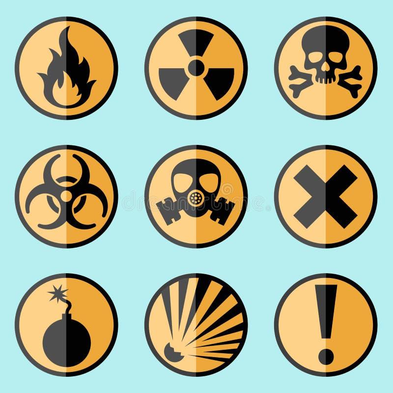 Vlakke waarschuwingsbordenetiketten stock illustratie