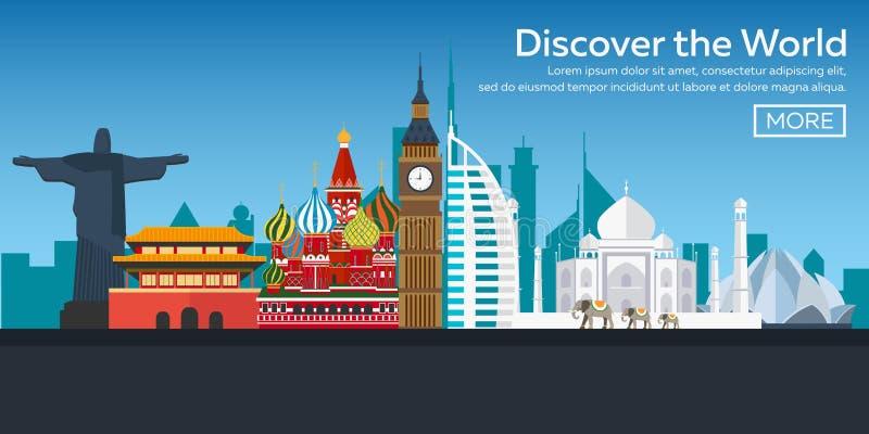 Vlakke Webbanners op het thema van reis door vliegtuig, vakantie, avontuur Vlucht in de stratosfeer Rond de Wereld stock illustratie