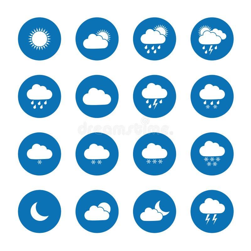 Vlakke weerpictogrammen vector illustratie