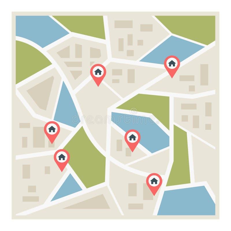 Vlakke wegenkaart met wijzers stock illustratie