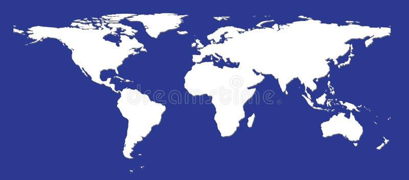 Vlakke witte wereldkaart stock illustratie