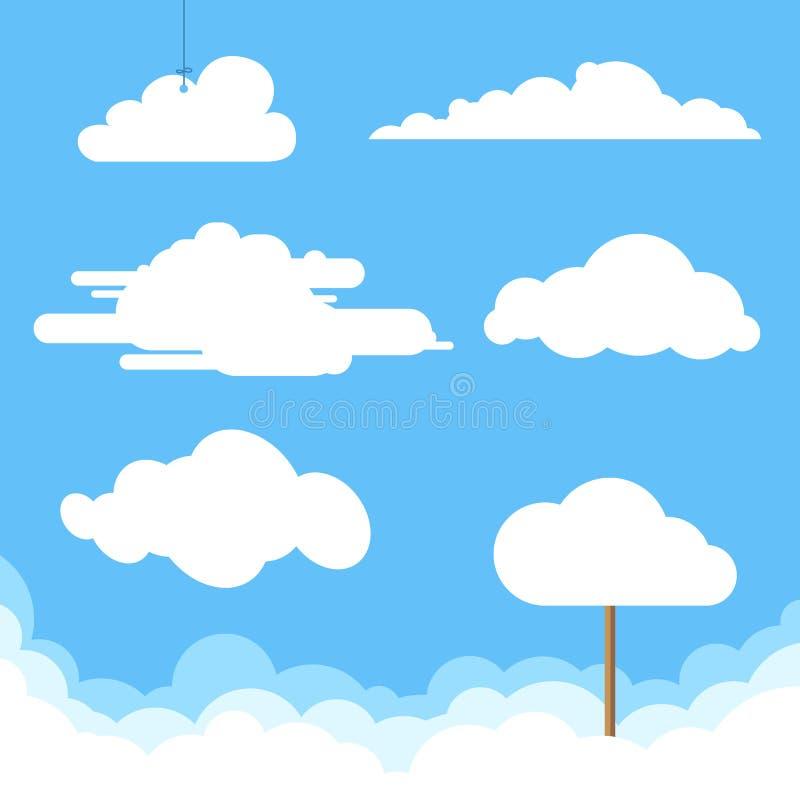 Vlakke wolkeninzameling stock illustratie