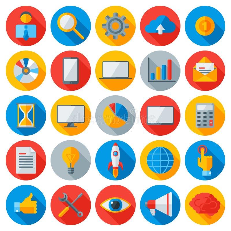 Vlakke zaken en mobiele technologiepictogrammen stock illustratie