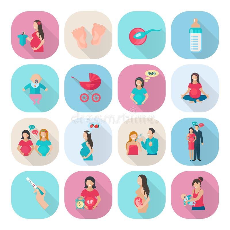 Vlakke zwangerschapspictogrammen stock illustratie