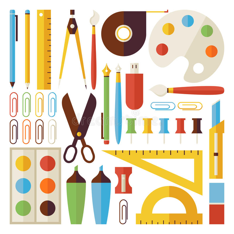 Vlakte terug naar Schoolvoorwerpen en Bureauinstrumenten Geplaatst geïsoleerd stock illustratie