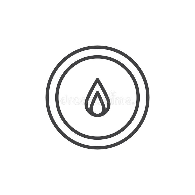 Vlam in het pictogram van de cirkellijn vector illustratie