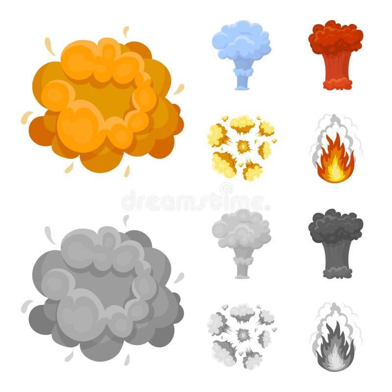 Vlam, vonken, waterstoffragmenten, atoom of gasexplosie Explosies geplaatst inzamelingspictogrammen in beeldverhaal, zwart-wit st vector illustratie