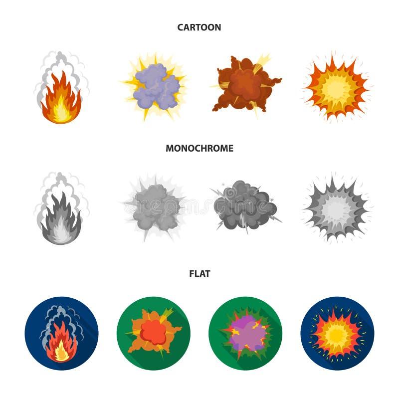 Vlam, vonken, waterstoffragmenten, atoom of gasexplosie, onweersbui, zonneexplosie Explosies geplaatst inzameling stock illustratie